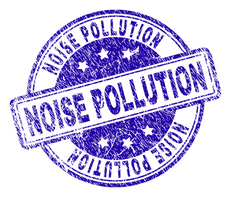 Inquinamento acustico timbro sigillo filigrana con struttura del grunge. Progettato con rettangoli e cerchi arrotondati. Stampa in gomma blu vettoriale di tag INQUINAMENTO RUMOROSO con texture polvere.
