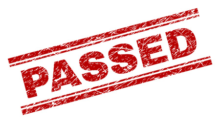 PASSED seal print with distress style. Red vector rubber print of PASSED text with grunge texture. Text tag is placed between double parallel lines.