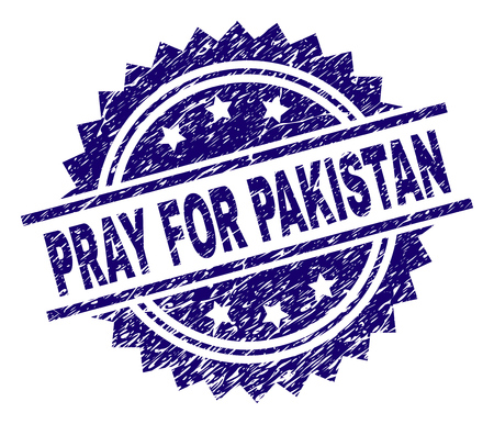 PRAY FOR PAKISTAN stamp seal watermark with distress style. Blue vector rubber print of PRAY FOR PAKISTAN caption with dust texture.