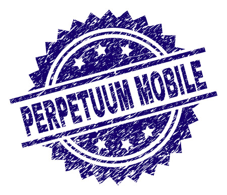 PERPETUUM MOBILE stamp seal watermark with distress style. Blue vector rubber print of PERPETUUM MOBILE caption with grunge texture.