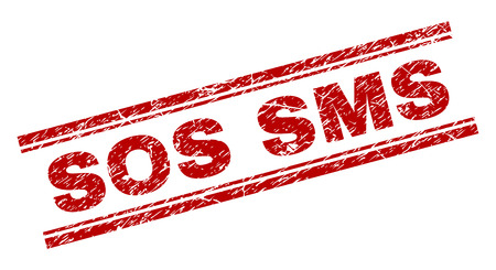 SOS SMS seal imprint with distress effect. Red vector rubber print of SOS SMS text with corroded texture. Text caption is placed between double parallel lines.  イラスト・ベクター素材