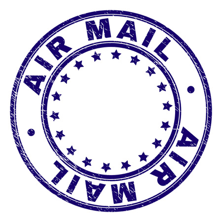 AIR MAIL stamp seal imprint with distress texture. Designed with round shapes and stars. Blue vector rubber print of AIR MAIL caption with retro texture.
