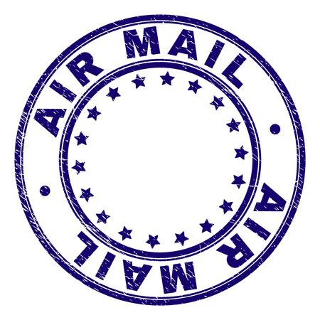 AIR MAIL-Stempelsiegelaufdruck mit Distress-Textur. Entworfen mit runden Formen und Sternen. Blauer Vektorgummidruck der AIR MAIL-Beschriftung mit Retro-Textur.