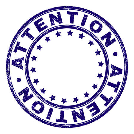 ATTENTION stamp seal watermark with grunge texture. Designed with circles and stars. Blue vector rubber print of ATTENTION caption with corroded texture.