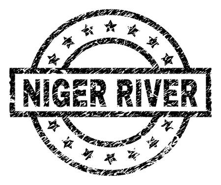 NIGER RIVER stamp seal watermark with distress style. Designed with rectangle, circles and stars. Black vector rubber print of NIGER RIVER text with unclean texture. Foto de archivo - 116204150