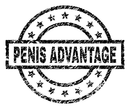 PENIS ADVANTAGE stamp seal watermark with distress style. Designed with rectangle, circles and stars. Black vector rubber print of PENIS ADVANTAGE caption with unclean texture.