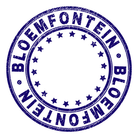 BLOEMFONTEIN stamp seal imprint with distress texture. Designed with round shapes and stars. Blue vector rubber print of BLOEMFONTEIN text with grunge texture.