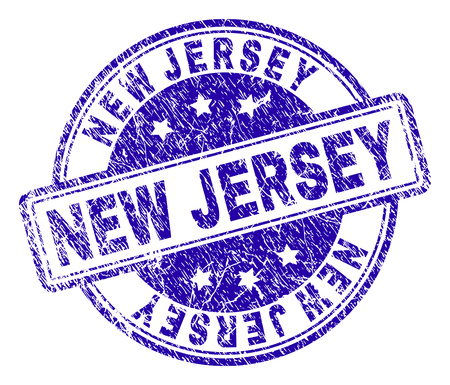 NEW JERSEY Stamp Seal Watermark With Distress Texture Designed Rounded Rectangles And Circles