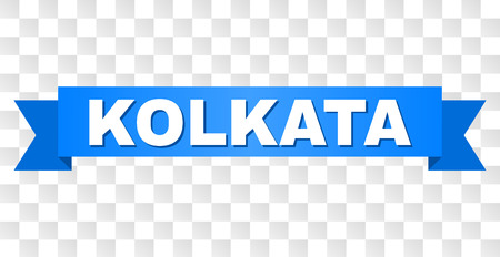 KOLKATA text on a ribbon. Designed with white caption and blue tape. Vector banner with KOLKATA tag on a transparent background.