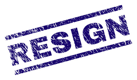 RESIGN seal watermark with grunge style. Blue vector rubber print of RESIGN text with grunge texture. Text tag is placed between parallel lines. Illustration