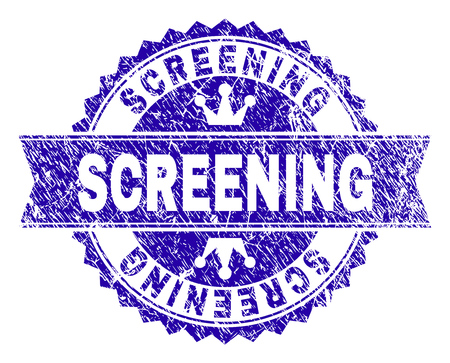 SCREENING rosette stamp seal watermark with grunge style. Designed with round rosette, ribbon and small crowns. Blue vector rubber watermark of SCREENING text with scratched style.