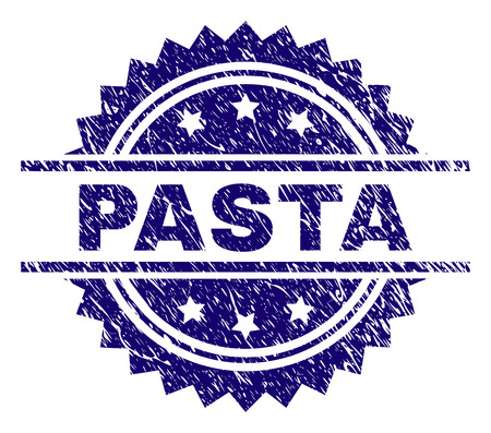 PASTA stamp seal watermark with distress style. Blue vector rubber print of PASTA caption with dust texture. Illustration