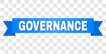 GOVERNANCE text on a ribbon. Designed with white caption and blue stripe. Vector banner with GOVERNANCE tag on a transparent background. Çizim