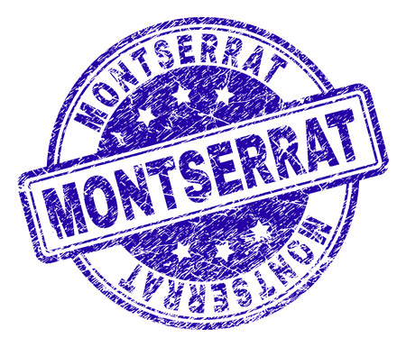 MONTSERRAT stamp seal watermark with grunge texture. Designed with rounded rectangles and circles. Blue vector rubber print of MONTSERRAT label with unclean texture.
