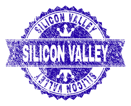 SILICON VALLEY rosette stamp seal watermark with grunge texture. Designed with round rosette, ribbon and small crowns. Blue vector rubber watermark of SILICON VALLEY label with grunge texture.