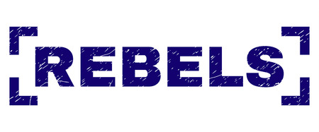 REBELS text seal print with corroded texture. Text label is placed between corners. Blue vector rubber print of REBELS with scratched texture.
