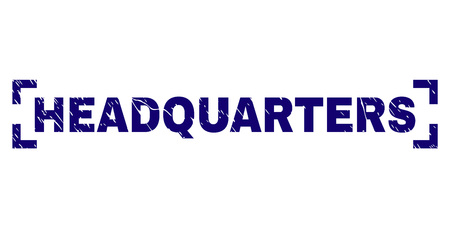 HEADQUARTERS caption seal print with grunge style. Text caption is placed between corners. Blue vector rubber print of HEADQUARTERS with grunge texture.