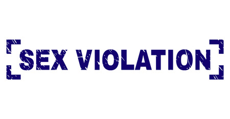 SEX VIOLATION label seal print with distress texture. Text title is placed inside corners. Blue vector rubber print of SEX VIOLATION with retro texture.