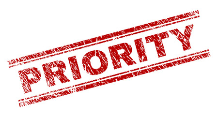 PRIORITY seal print with grunge texture. Red vector rubber print of PRIORITY title with grunge texture. Text tag is placed between double parallel lines.
