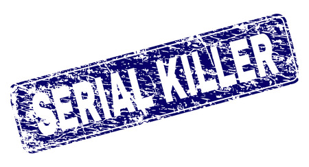 SERIAL KILLER stamp seal print with distress texture. Seal shape is a rounded rectangle with frame. Blue vector rubber print of SERIAL KILLER label with scratched texture.