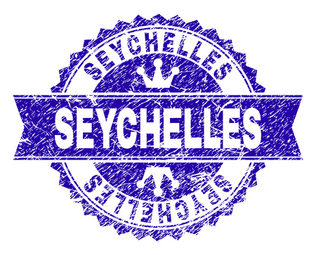 SEYCHELLES rosette stamp seal watermark with grunge texture. Designed with round rosette, ribbon and small crowns. Blue vector rubber watermark of SEYCHELLES label with retro texture.