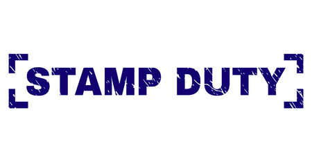 STAMP DUTY caption seal stamp with grunge style. Text caption is placed between corners. Blue vector rubber print of STAMP DUTY with dirty texture.