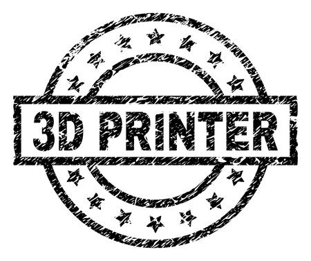 3D PRINTER stamp seal watermark with distress style. Designed with rectangle, circles and stars. Black vector rubber print of 3D PRINTER tag with corroded texture.
