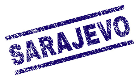 SARAJEVO seal print with scratced style. Blue vector rubber print of SARAJEVO text with retro texture. Text tag is placed between parallel lines.