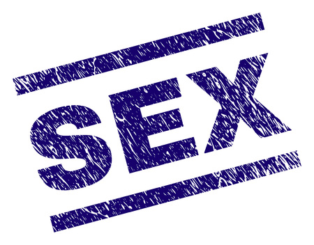 SEX seal stamp with grunge style. Blue vector rubber print of SEX label with grunge texture. Text caption is placed between parallel lines.
