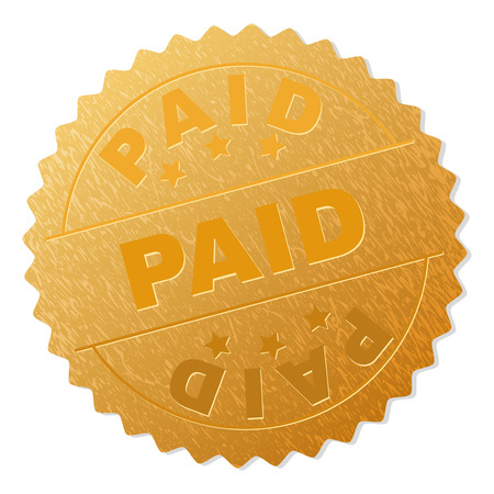 PAID gold stamp seal. Vector golden medal with PAID text. Text labels are placed between parallel lines and on circle. Golden skin has metallic texture.