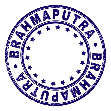BRAHMAPUTRA stamp seal imprint with grunge texture. Designed with round shapes and stars. Blue vector rubber print of BRAHMAPUTRA title with grunge texture. Foto de archivo - 116262442