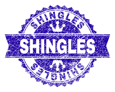 SHINGLES rosette seal imitation with grunge style. Designed with round rosette, ribbon and small crowns. Blue vector rubber print of SHINGLES title with unclean style.