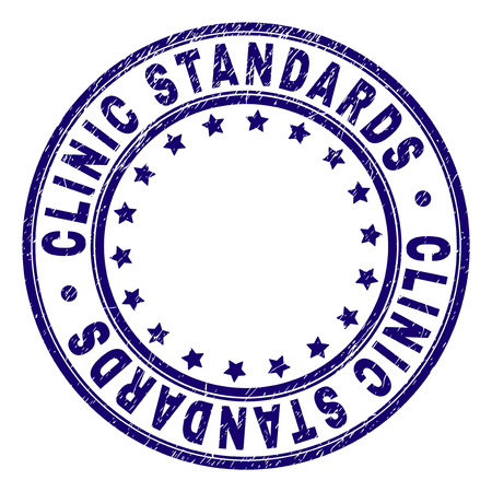 CLINIC STANDARDS stamp seal watermark with grunge texture. Designed with circles and stars. Blue vector rubber print of CLINIC STANDARDS label with grunge texture.