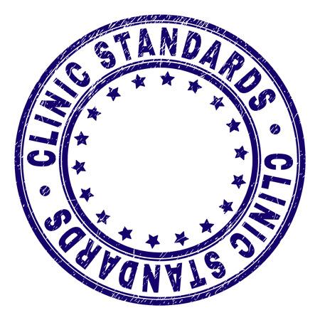 KLINIK STANDARDS-Stempel-Siegel-Wasserzeichen mit Grunge-Textur. Entworfen mit Kreisen und Sternen. Blauer Vektorgummidruck des KLINIKSTANDARDS-Etiketts mit Grunge-Textur. Vektorgrafik