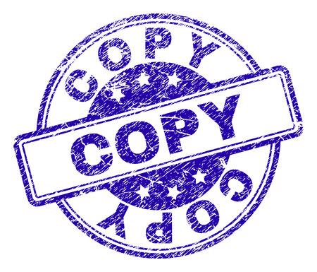 Copiez l'empreinte de sceau de timbre avec la texture grunge. Conçu avec des rectangles et des cercles arrondis. Impression en caoutchouc de vecteur bleu du texte de COPIE avec une texture corrodée.