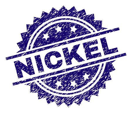 NICKEL stamp seal watermark with distress style. Blue vector rubber print of NICKEL caption with retro texture.