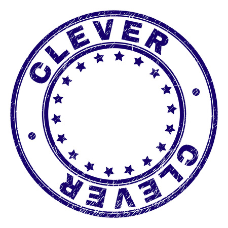 CLEVER stamp seal imprint with grunge texture. Designed with round shapes and stars. Blue vector rubber print of CLEVER caption with grunge texture.