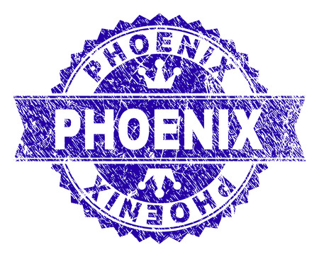 PHOENIX rosette seal overlay with grunge style. Designed with round rosette, ribbon and small crowns. Blue vector rubber print of PHOENIX label with corroded style.