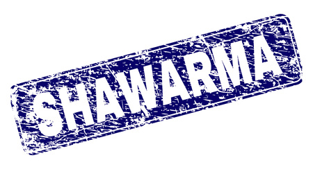 SHAWARMA stamp seal watermark with grunge texture. Seal shape is a rounded rectangle with frame. Blue vector rubber print of SHAWARMA label with grunge texture.