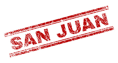 SAN JUAN seal stamp with distress texture. Red vector rubber print of SAN JUAN text with grunge texture. Text tag is placed between double parallel lines.