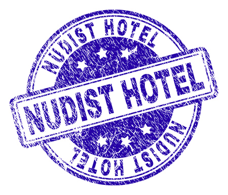 NUDIST HOTEL stamp seal watermark with grunge texture. Designed with rounded rectangles and circles. Blue vector rubber print of NUDIST HOTEL label with scratched texture.