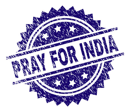 PRAY FOR INDIA stamp seal watermark with distress style. Blue vector rubber print of PRAY FOR INDIA caption with retro texture.