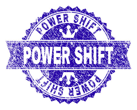 POWER SHIFT rosette seal imprint with grunge texture. Designed with round rosette, ribbon and small crowns. Blue vector rubber watermark of POWER SHIFT tag with grunge texture.