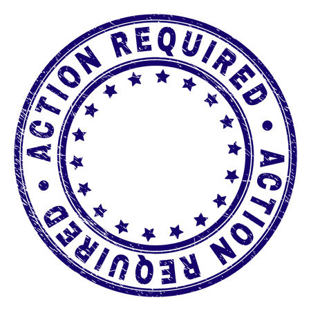 ACTION REQUIRED stamp seal watermark with distress texture. Designed with circles and stars. Blue vector rubber print of ACTION REQUIRED tag with retro texture.