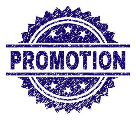 PROMOTION stamp seal watermark with distress style. Blue vector rubber print of PROMOTION title with retro texture.