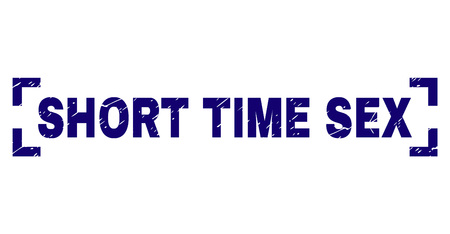 SHORT TIME SEX label seal watermark with distress texture. Text label is placed inside corners. Blue vector rubber print of SHORT TIME SEX with grunge texture.