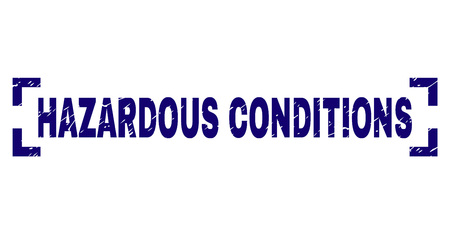 HAZARDOUS CONDITIONS text seal print with grunge texture. Text label is placed between corners. Blue vector rubber print of HAZARDOUS CONDITIONS with dust texture.
