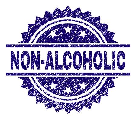 Filigrane de sceau de timbre SANS ALCOOL avec style de détresse. Impression en caoutchouc de vecteur bleu du titre SANS ALCOOL avec texture sale.