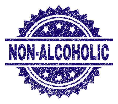 NON-ALCOHOLIC stamp seal watermark with distress style. Blue vector rubber print of NON-ALCOHOLIC title with dirty texture.