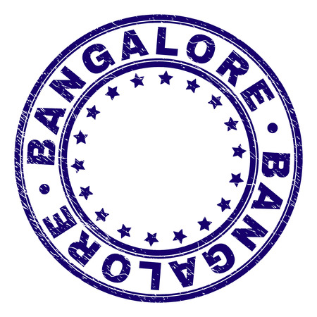 BANGALORE stamp seal imprint with grunge texture. Designed with round shapes and stars. Blue vector rubber print of BANGALORE text with scratched texture. Illustration